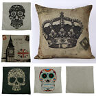 Retro Cool Skull Linen Cotton Throw Pillow Case Sofa Bed Chair Cushion Cover Hot