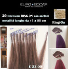 Euro Socap Hair Extension da ciocche RING-ON con anellini 45 a 55 cm   100% Remy