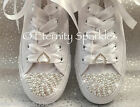 Customised/Personalised White Mono Pearl Crystal Sparkle Wedding Bridal Converse