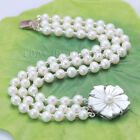 s686 3 rows AA 4-5mm 5x6mm white Cultured akoya pearl bracelets silver clasp ZK