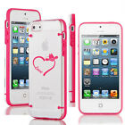 For iPhone 4 4s 5 5s 5c Clear Hard TPU Case Cover Love Heart Country Cowgirl