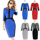 Women Elegant Casual/OL Split Fit Pencil Bodycon Slim Midi Party Dress Plus Size