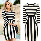 Women Black and White Striped Dress Package Hip Long Sleeved Dress New Vogue