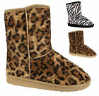 WOMENS FLAT FAUX FUR LINED SNUGG WINTER LADIES ANKLE BOOTS SHOES SIZE UK 3-8