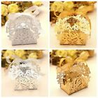 50pcs Candy Sweet Ribbons Butterfly Boxes Hollow Paper Case Couple Wedding Party