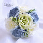 Mixed Roses Silk Flower Wedding Bridal Bridesmaid Flower Girl Bouquet 5 Colours