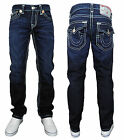 True Religion Ricky Super T Mens Straight Cut Denim Jeans In Ransom Dark Blue