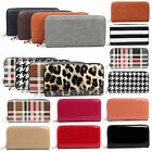 Ladies Plain Croc Checked Leopard Print Long Zip Purse Women Wallet