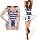 Star Wars R2D2 Swimwear Women Print One-Piece Backless Swimsuit + vest dresses