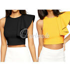 Elegant Women One-shoulder Ruffle Back Zip Party Evening Formal Crop Top Shirt