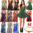 Women Sundress Sexy Dresses Stretchy Animate Vest dress Printed Pleated Skater