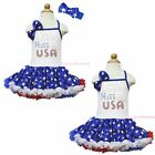 4th July Rhinestone LITTLE MISS USA Halter Patriotic Star One Piece Dress 1-8Y
