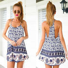 Sexy Women Casual Sleeveless Elephant Print Party Beach Mini Dress Vogue