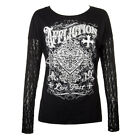 Affliction American Custom Ink Lace Panel Black Womens Top ALL SIZES
