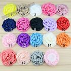 """Lots Satin Ribbon corsage Rose headdress flower Sewing Appliques 3"""" 16color pick"""