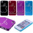 Aluminum Metal Brushed PC Bumper Frame Crystal Back Case Cover For iPhone 4 4S