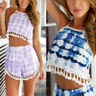Womens Summer Cool Two Pieces Beach Backless Print Playsuit With Tassel Jumpsuit