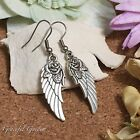 ER2819 Graceful Garden Vintage Gothic Style Rose Angel Wing Dangle Hook Earrings