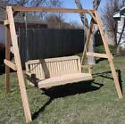 NEW ALL CEDAR TALL A-FRAME SWING STAND WITH 6 FOOT TRADITIONAL PORCH SWING
