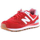 New Balance WL 574 SPW Womens Suede & Synthetic Red White Trainers New Shoes