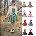RED COTTON + 50S ROCKABILLY DRESSES* Vintage Retro Swing Pinup Dance Party Dress
