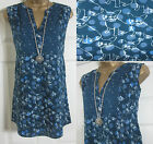 NEW EX WHITE STUFF SPOT DOG PUG SUMMER TOP BLOUSE TUNIC SLEEVELESS BLUE UK 8-18