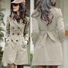 Feature Vogue Women Long Sleeve Trench Double Breasted Coats Jacket Outwear FOUK