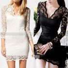 Sexy Lady's Deep V Neck Floral Lace Slim Bodycon Skirt Party Evening Dress M-XL