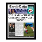 Personalised Youngest Football Signing Newspaper with Photo Gift Present Ideas