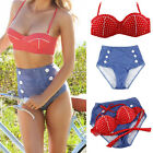 New Retro Swimsuit Swimwear Vintage Push Up Bandeau SET