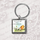 Winnie the Pooh Keyring, Pooh quotes, classic Pooh antique gold finish handmade