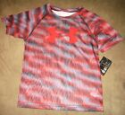Boys Under Armour Heat Gear Shirt Performance Anthracite Red Grey Size 4 5 6 NEW
