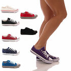 LADIES CANVAS TRAINERS LACE UP PUMPS CASUAL WALKING FLATS PLIMSOLLS SHOES SIZE