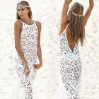 Sexy Womens Summer Lace White Boho Long Maxi Evening Party Beach Dress FO UK 10