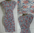 NEW EX WALLIS FLORAL BODYCON WIGGLE RUCHED STRETCH DRESS PEACH GREY BLUE 8 - 18