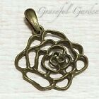 PD2799 Graceful Garden Vintage Style Romantic Filigree Rose Charm Pendant