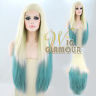 "Long Straight 20""-28"" Light Blonde Mixed Bluish Green Lace Front Wig"