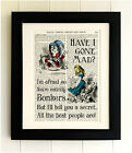 ART PRINT ON OLD ANTIQUE BOOK PAGE *FRAMED* Alice in Wonderland, Mad Hatter