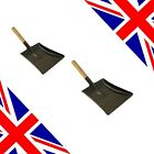 Fire Place Black Shovel Pan, Wooden Handle BRITISH MADE Medium and Large