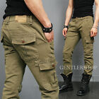 Mens Fashion Military Beige Cargo Button Pocket Pants 505, GENTLERSHOP