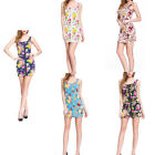a Hip Hop Sexy VINTAGE 60s ROSE PRINT Zipper Dress Floral Bodycon Clubwear