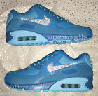 CUSTOMISED BLUE CRYSTAL BLING NIKE AIR MAX 90 PREMIUM WOMENS LADIES TRAINERS