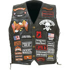 Biker Vest Lace-Up Buffalo Leather Motorcycle USA Flag Eagle w/ 42 Patches