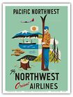Pacific Northwest Cascadia Vintage Airline Travel Art Poster Print