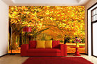 3D Gold Deciduous Trees Paper Wall Print Decal Wall Deco Indoor wall Murals