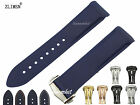 22mm NEW HQ Men's Blue Diver Curved end Rubber watch band strap For Planet-Ocean