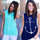 Fabulous Ladies Summer Vest Top Sleeveless Blouse Casual Tank Tops T-Shirt Blue