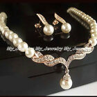 NOBLE BRIDAL JEWELERY SET PEARL CRYSTAL WEDDING NECKLACE STUDS EARRINGS WOMEN