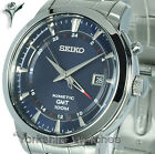 New SEIKO KINETIC GMT BLUE FACE Dual Time WITH STAINLESS STEEL BRACELET SUN031P1