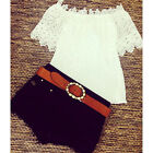 Valuable Women Off Shoulder Casual Tops Blouse Lace Crochet Chiffon Shirt FOUK